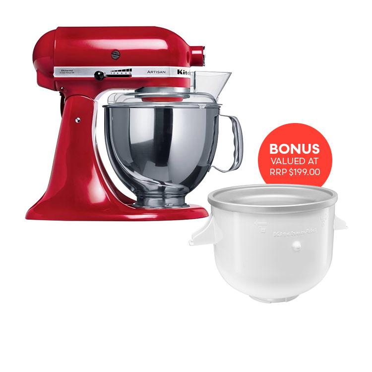 KitchenAid Artisan KSM150 Stand Mixer Empire Red w/ Ice Cream Bowl Attachment