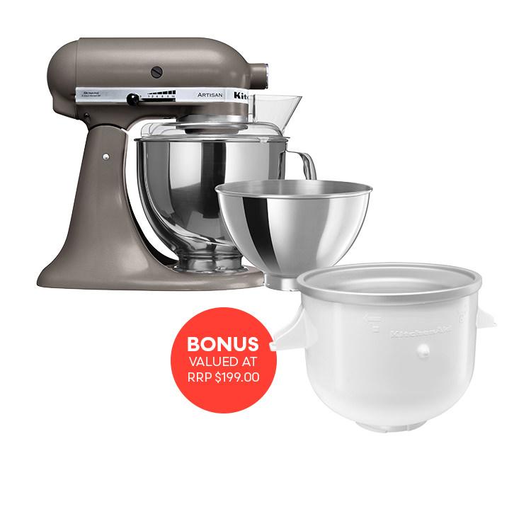 KitchenAid Artisan KSM160 Stand Mixer Cocoa Silver w/ Ice Cream Bowl Attachment