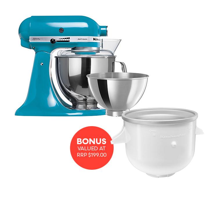 KitchenAid Artisan KSM160 Stand Mixer Crystal Blue w/ Ice Cream Bowl Attachment