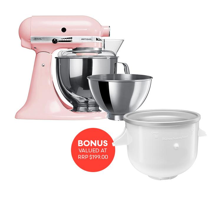 KitchenAid Artisan KSM160 Stand Mixer Pink w/ Ice Cream Bowl Attachment