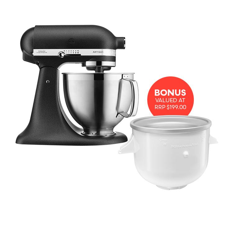 KitchenAid Artisan KSM177 Stand Mixer Cast Iron Black w/ Ice Cream Bowl Attachment