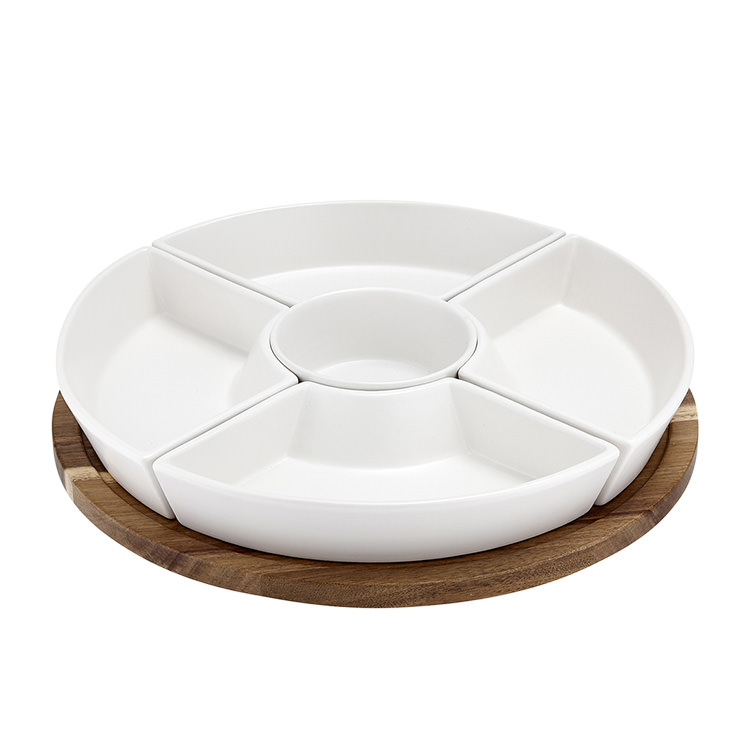 Ladelle Lazy Susan Server Set White
