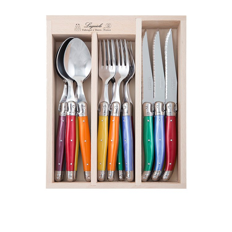 Laguiole by Andre Verdier Debutant Cutlery Set 18pc Mirror Mixed Original