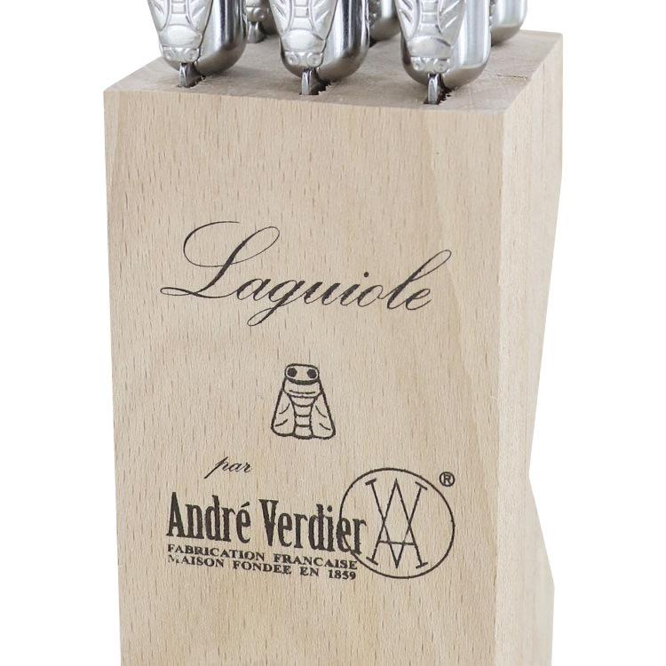 Laguiole by Andre Verdier Debutant Serrated Knives 6pc Cornflower
