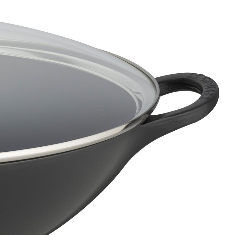 Le Creuset Cast Iron Wok with Glass Lid 32cm Satin Black
