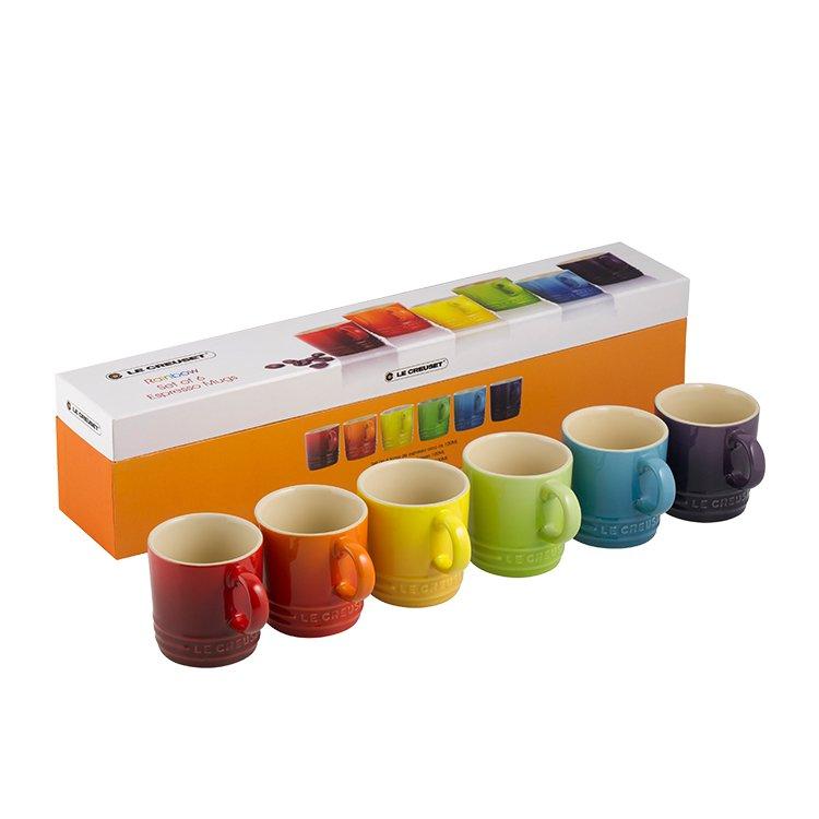 Le Creuset Stoneware Espresso Mug 100ml Set of 6 Rainbow