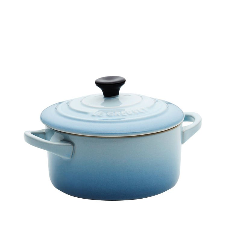 le creuset mini cocotte 10cm coastal blue on sale now. Black Bedroom Furniture Sets. Home Design Ideas