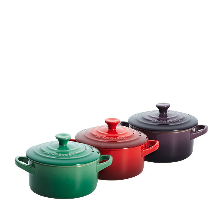 le creuset mini cocotte 10cm set of 3 farm fresh on sale now. Black Bedroom Furniture Sets. Home Design Ideas