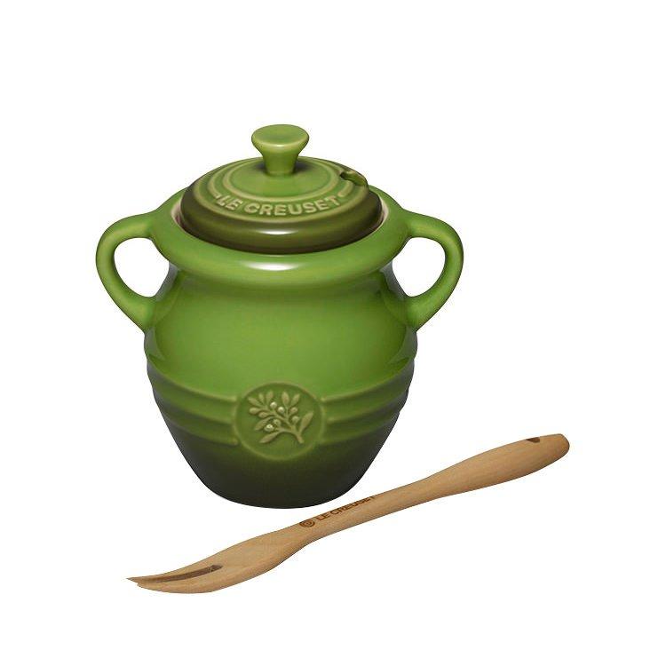 Le Creuset Stoneware Olive Jar & Fork Sage Green
