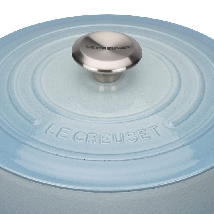 Le Creuset Signature Cast Iron Round Casserole 20cm - 2.4L Coastal Blue
