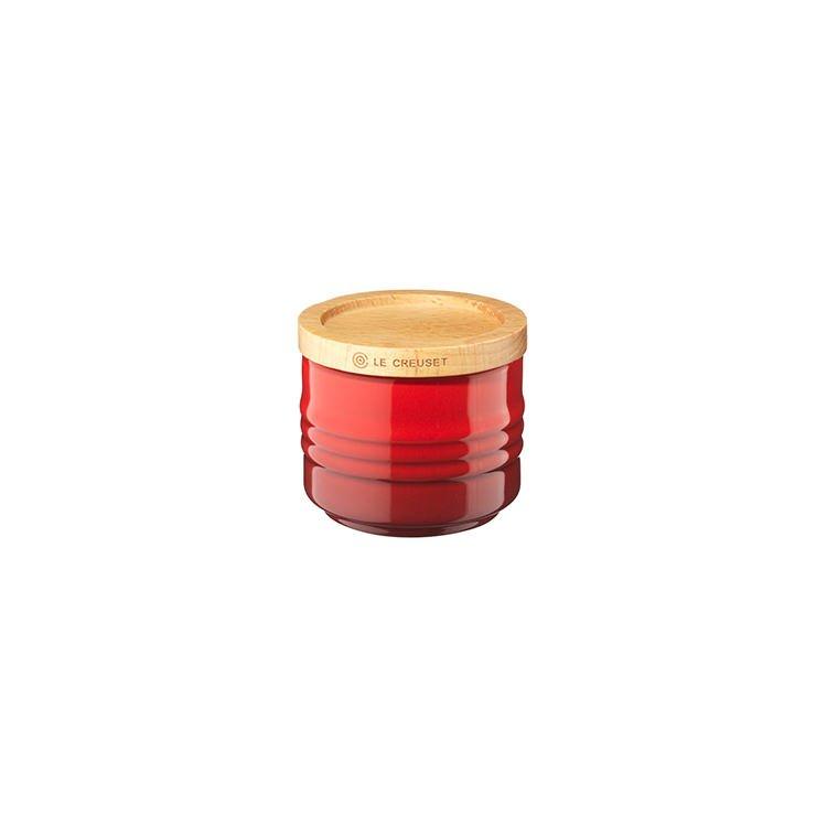 Le Creuset Stoneware Stackable Sugar Bowl w/ Wooden Lid 80ml Cerise