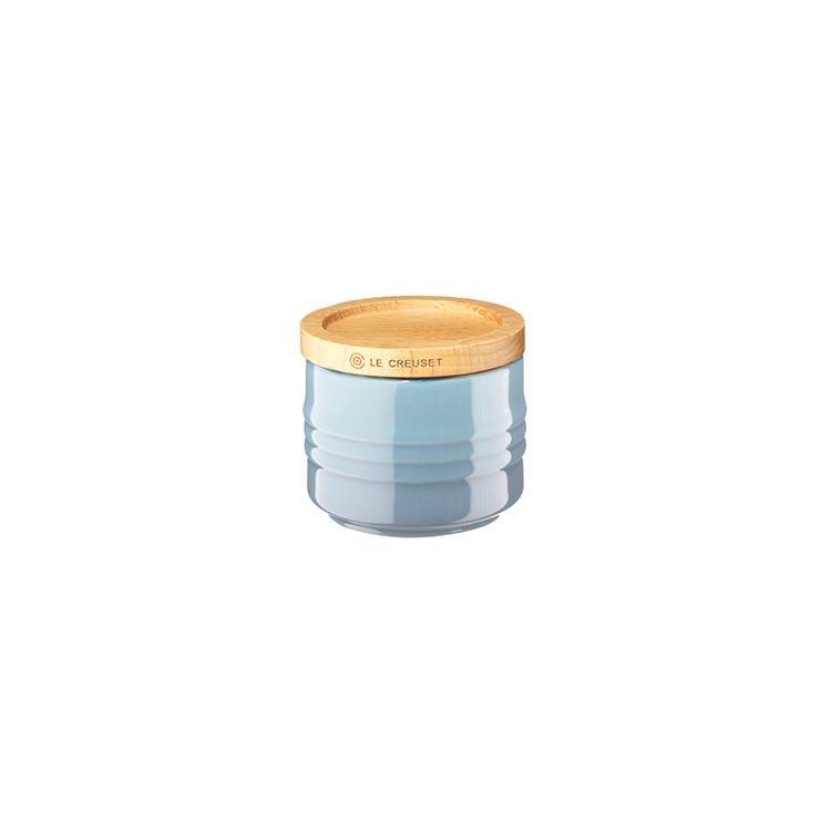 Le Creuset Stoneware Stackable Sugar Bowl w/ Wooden Lid 80ml Coastal Blue