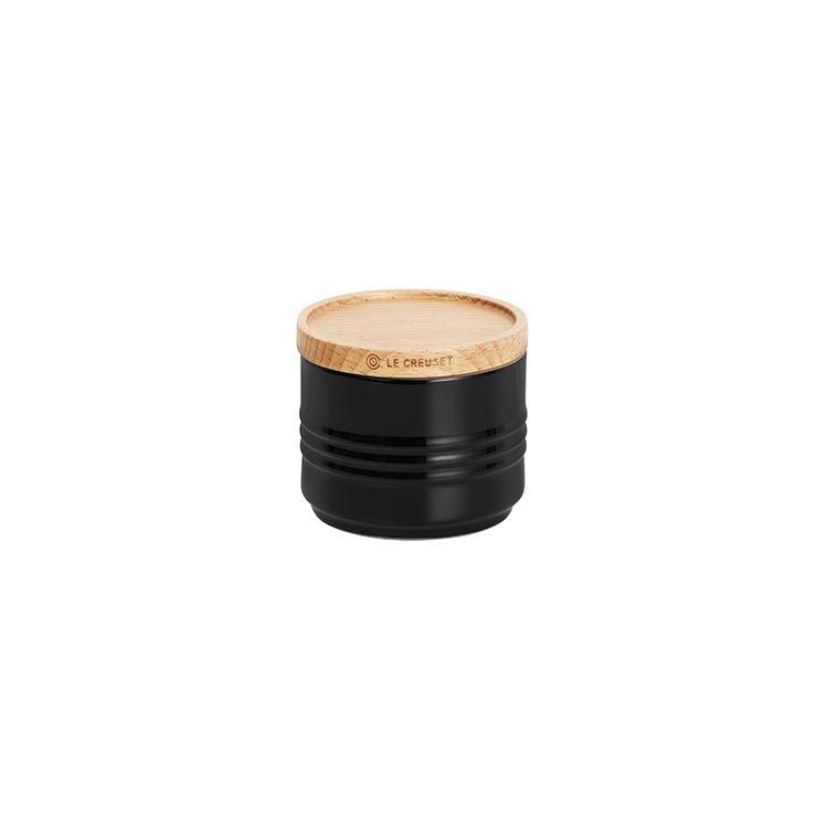 Le Creuset Stoneware Stackable Sugar Bowl w/ Wooden Lid 80ml Satin Black