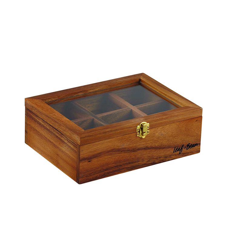 Leaf & Bean Acacia Wood Tea Box 25x18.5x9cm
