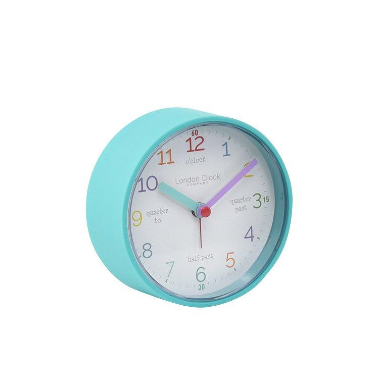 London Clock Company Tell the Time Silent Alarm Clock 8cm Aqua