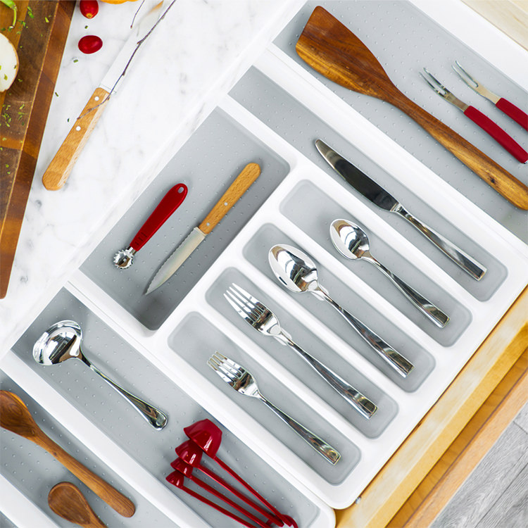 Madesmart Cutlery Tray 6 Compartment White