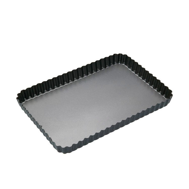 MasterPro Non-Stick Loose Base Fluted Rectangular Quiche Tin 32x22x3.5cm