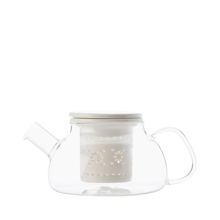 Maxwell & Williams Lille Glass Teapot with Infuser 700ml White