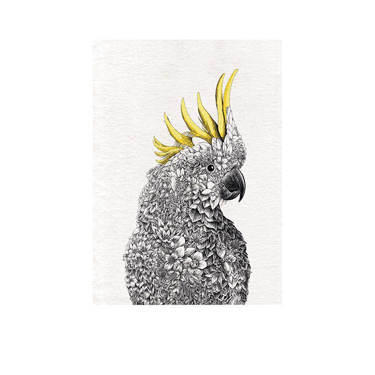 Maxwell & Williams Marini Ferlazzo Birds Tea Towel 50x70cm Cockatoo
