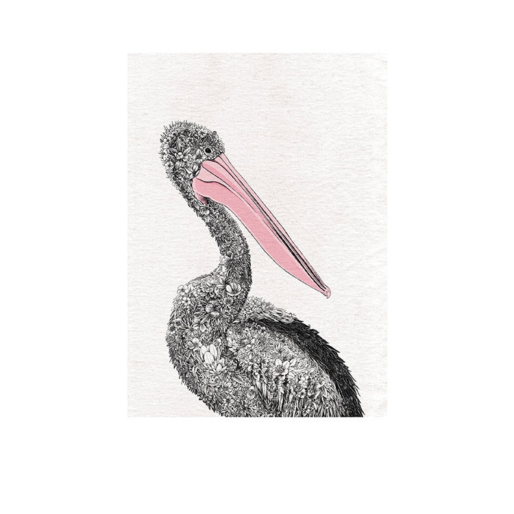 Maxwell & Williams Marini Ferlazzo Birds Tea Towel 50x70cm Pelican