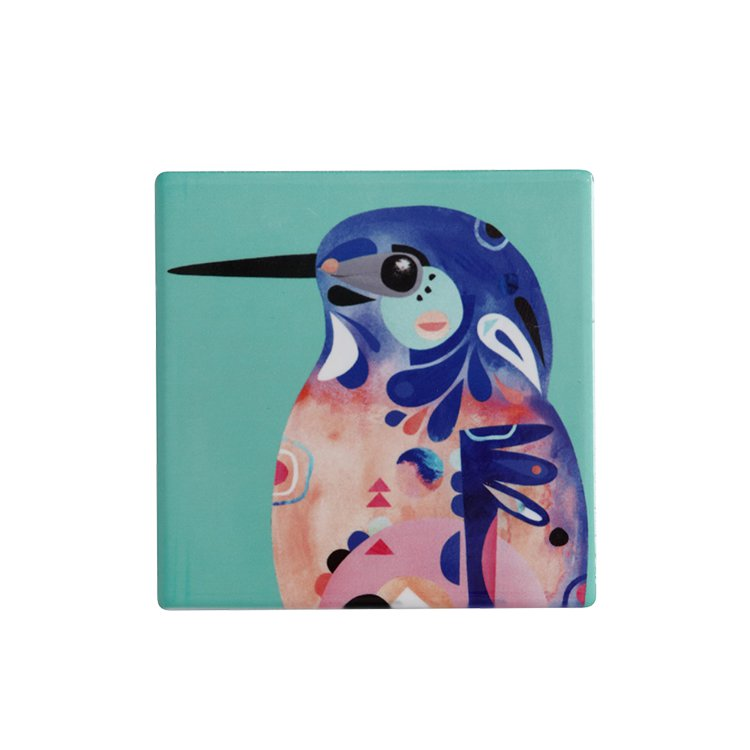 Maxwell & Williams Pete Cromer Ceramic Square Tile Coaster Azure Kingfisher