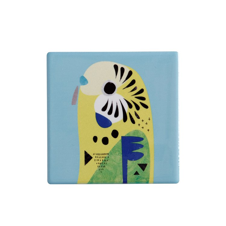 Maxwell & Williams Pete Cromer Ceramic Square Tile Coaster Budgerigar