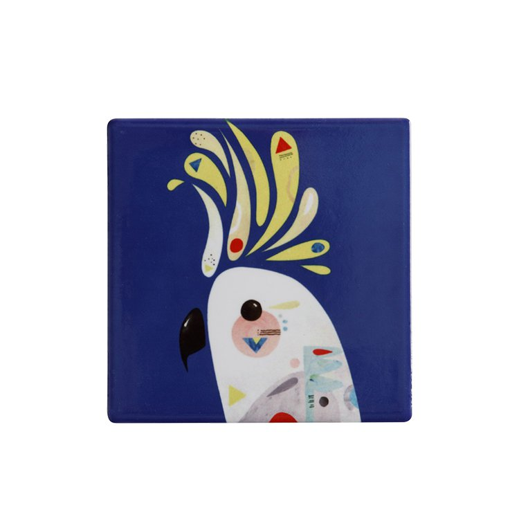Maxwell & Williams Pete Cromer Ceramic Square Tile Coaster Cockatoo