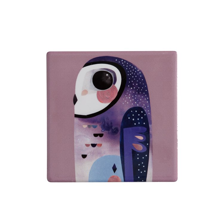 Maxwell & Williams Pete Cromer Ceramic Square Tile Coaster Owl