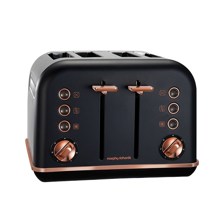 Morphy Richards Accents Rose Gold 4 Slice Toaster Black