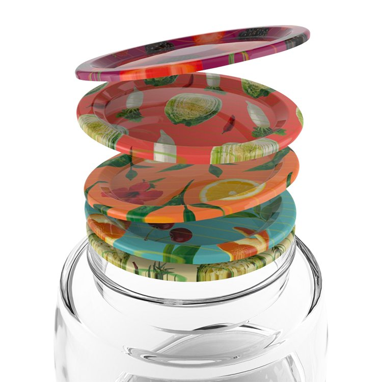 Mortier Pilon Mason Jar Lids Patterned Set of 12