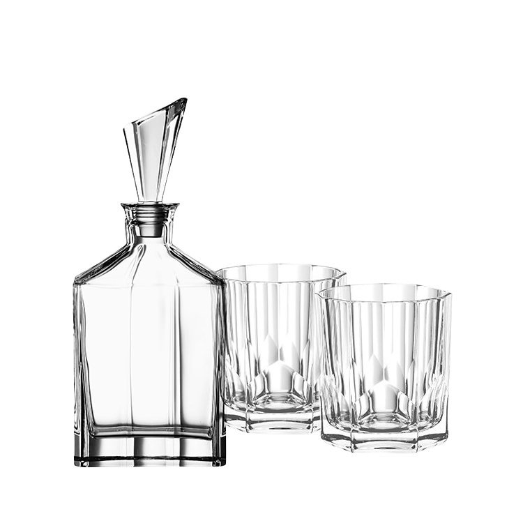 Nachtmann Aspen Whiskey Glass 3pc Set Decanter with 2 Whiskey Tumblers