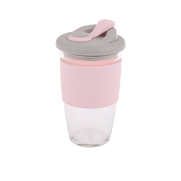 Oasis Borosilicate Glass Eco Cup 454ml Pink