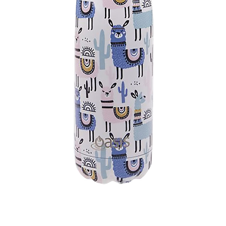 Oasis Double Wall Insulated Drink Bottle 500ml Llamas