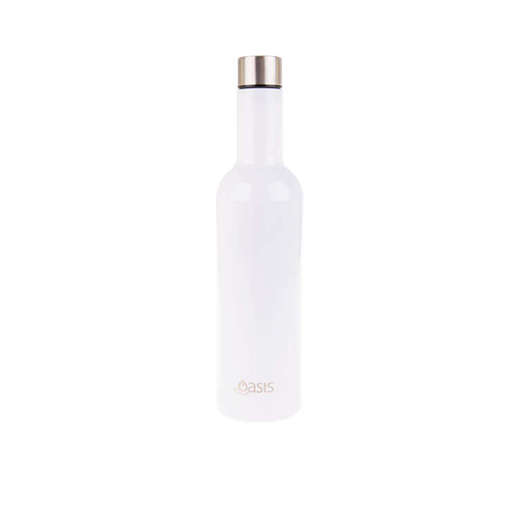 Oasis Pastel Stainless Steel Double Wall Insulated Wine Traveller 750ml White