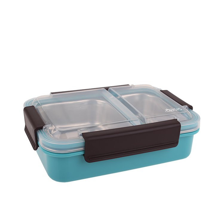 Oasis Lunch Box 2 Compartment 23x16.5x7cm Turquoise