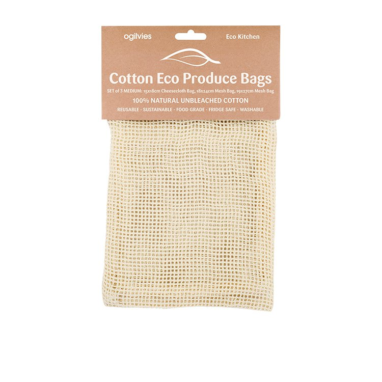 Ogilvies Designs Eco Kitchen Cotton Produce Bags Set 3pc Medium