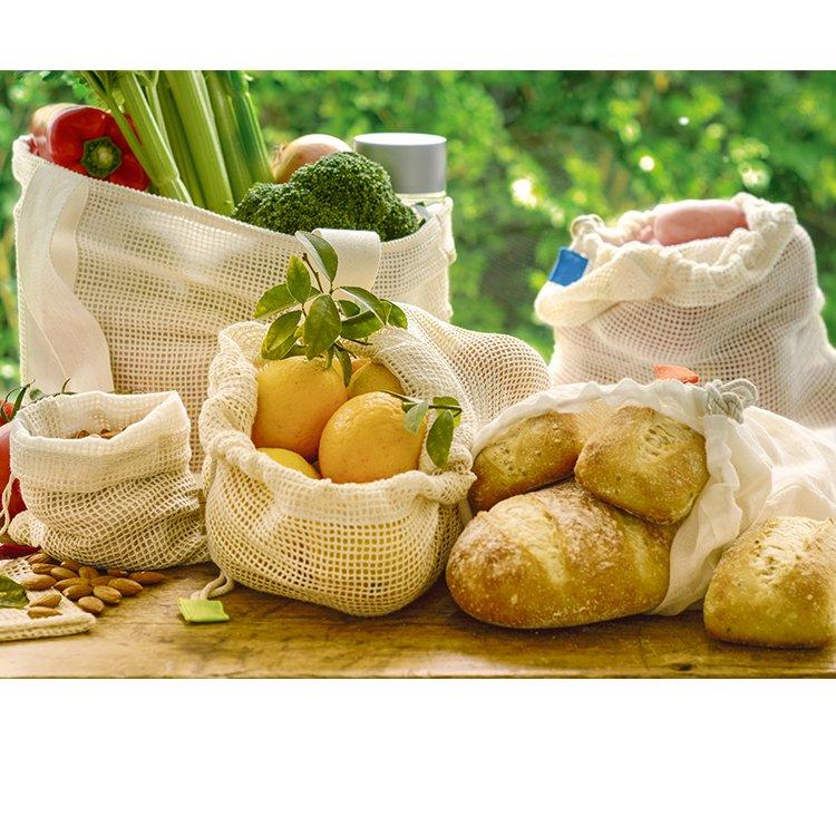 Ogilvies Designs Eco Kitchen Cotton Produce Bags Set 3pc Large