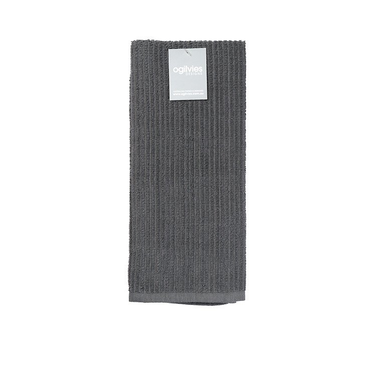 Ogilvies Designs Rib Terry Tea Towel Grey