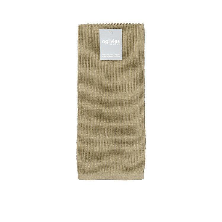 Ogilvies Designs Rib Terry Tea Towel Stone