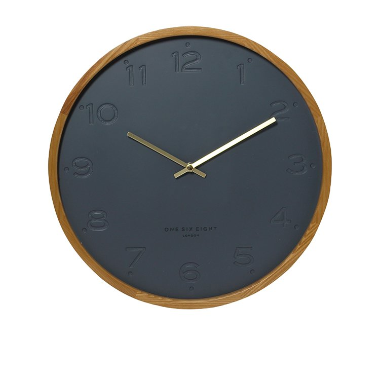One Six Eight London Freya Silent Wall Clock 35cm Charcoal