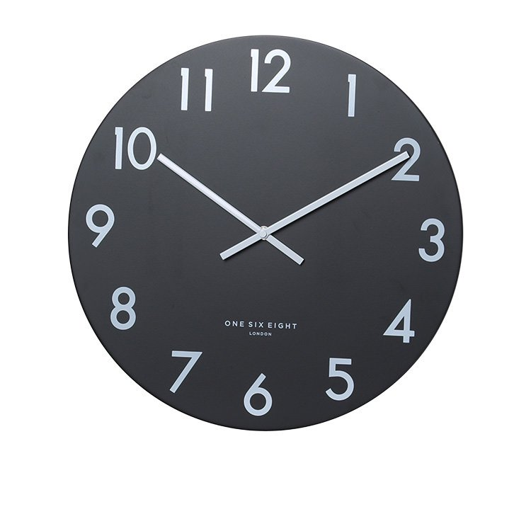 One Six Eight London Jackson Silent Wall Clock 30cm Black