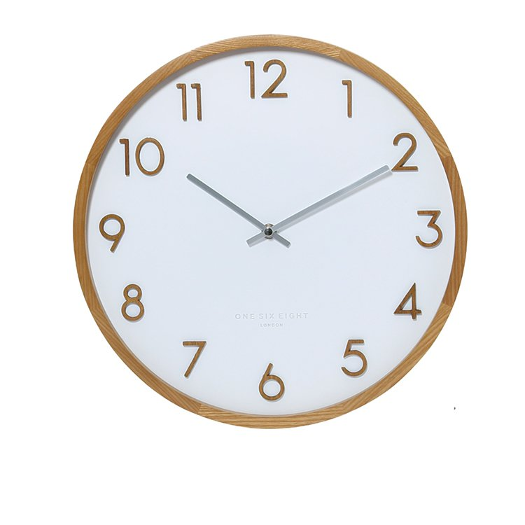 One Six Eight London Scarlett Silent Wall Clock 50cm White