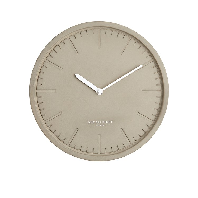 One Six Eight London Simone Silent Wall Clock Concrete 30cm