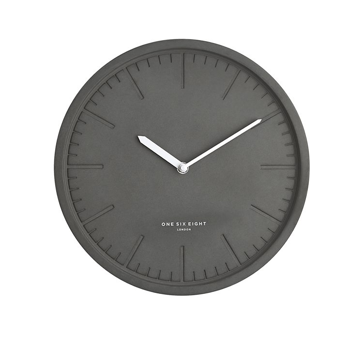 One Six Eight London Simone Silent Wall Clock Dark Concrete 30cm