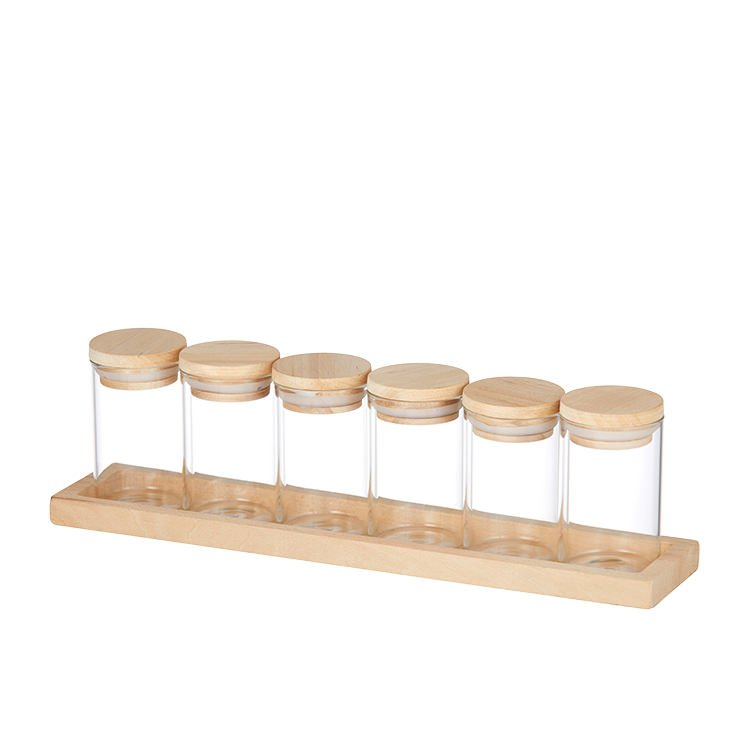 Pantry Spice Jar Set w/ Wooden Base 6pc
