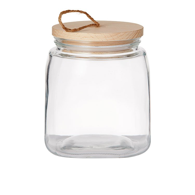 pantry square glass canister w wooden lid 1 9l fast shipping. Black Bedroom Furniture Sets. Home Design Ideas