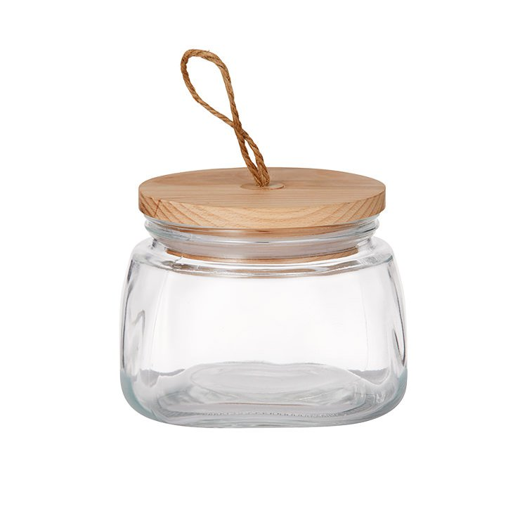 Pantry Square Glass Canister w/ Wooden Lid 1L