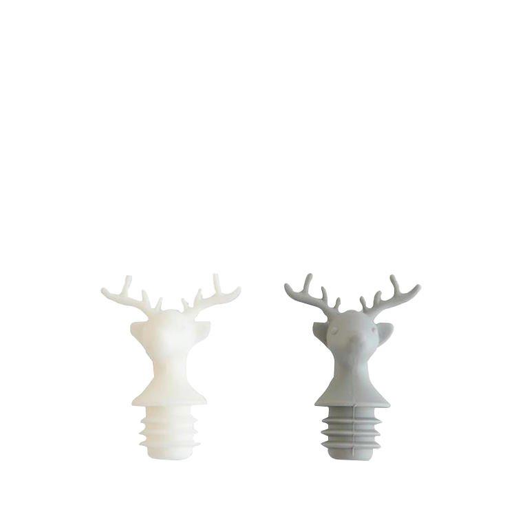 Parnell Wine Stopper Deer White & Grey Set of 2