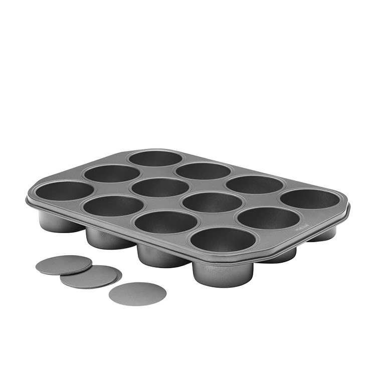 Pyrex Platinum Loose Base Round Dessert Pan 12 Cup 39x28cm