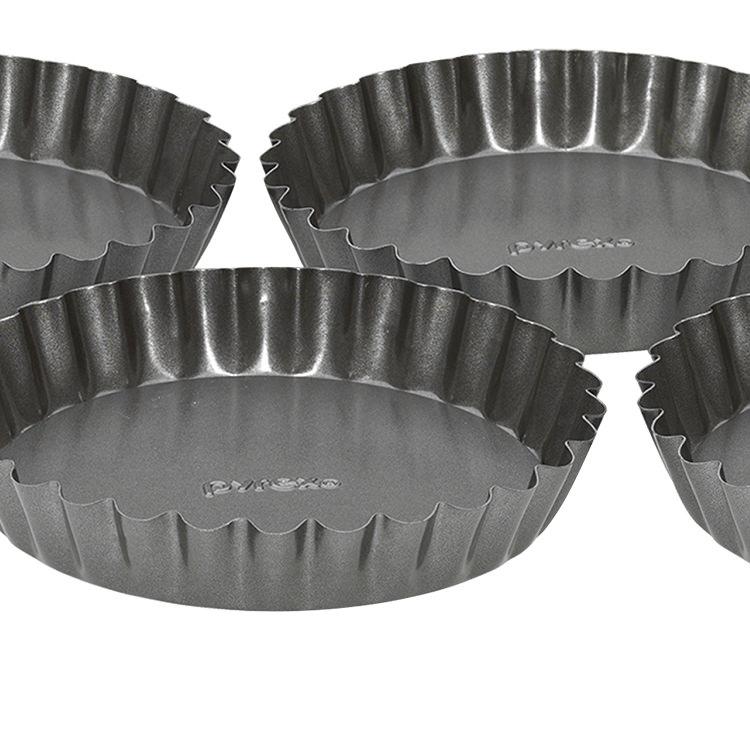 Pyrex Platinum Loose Bottom Tartlets Set of 4 12cm